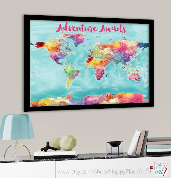 Colorful world map bright world map with us states cities colorful world map bright world map with us states cities large detailed world map canvas world map print watercolor map push pin map gumiabroncs Image collections