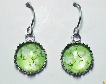 Light Lime Green Floral Earrings Titanium Hypoallergenic