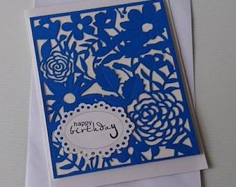 Handmade Blue Floral Birthday Card, Die Cut Cards, Greeting Cards