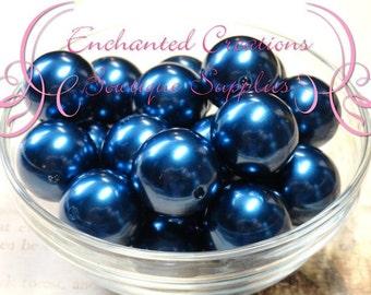 20mm Royal Blue Acrylic Pearl Beads Qty 10