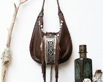 Urban bag ' Folk / Messenger bag leather fringe Boho Rock Vintage Festival Bohemian Hippie Tribal Chic Style
