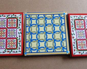 3 Quilt Pattern  Vintage  Focal Tiles for Mosaics