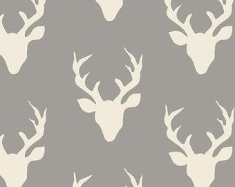 Buck Forest Mist Hello Bear Bonnie Christine Art Gallery Fabrics Grey Gray Ivory Deer Stag Head Antlers Boy Fabrics Hunting Yard Half Yard