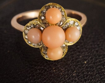 Antique Victorian Coral & Diamond Cluster Ring in 9ct Gold, c1870