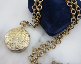Gold Pendant Necklace - Victorian Revival Costume Jewelry Faux Locket Pocket Watch Vintage Necklaces for Women