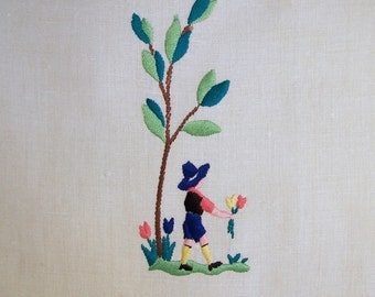 Linen Hand Towel Embroidered German Boy with Tulips