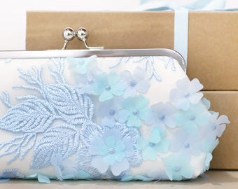 Ivory Baby Blue Floral Clutch | HYDRANGEAS, wedding clutch, purse for Bride, Bridesmaid, Mothers, something blue