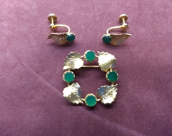 Gold Filled and Jade Green Leaf Wreath Brooch Pin and Matching Earrings Adjustable #C130