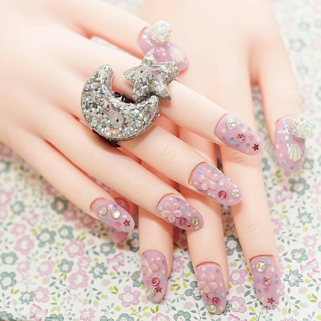 4D Nägel Nagel japanische Kunst Flieder Sakura falsche