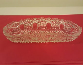 Vintage crystal oblong snack, butter, candy, jewelry dish