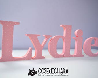 Cursive letters in wood