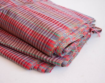 Vintage Fabric by the yard, Vintage Lightweight Cotton Fabric, Red Purple Green, Craft Supplies