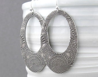 Silver Boho Earrings Bohemian Jewelry Statement Earrings Extra Large Silver Earrings Sterling Silver Unique Handmade Jewelry Gift for Her