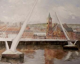 The Peace Bridge, Derry/Londonderry, Irish Art, Irish Watercolour, Wild Atlantic Way. Northern Ireland .