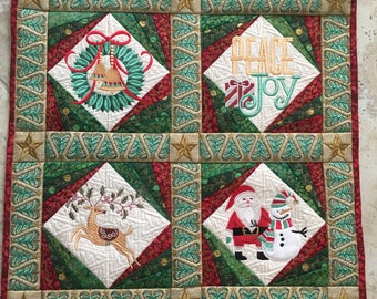 Christmas Wall Hanging Quilt, Quilted Christmas Table Centerpiece, Machine Embroidered Holiday Art Quilt, Quiltsy Handmade