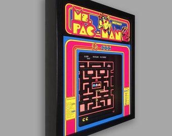 Ms. Pac-Man Shadowbox Art