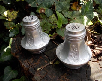 Vintage Aluminum Salt and Pepper Shakers with flower design