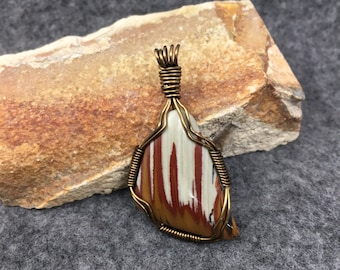OWYHEE JASPER natural stone wire wrapped pendant