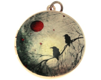 Photo Locket, Image Locket, Art Locket, Picture Locket, Brass Locket - Nightbirds
