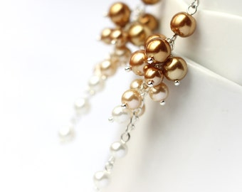 Golden Ombre Earrings, Wedding Bridesmaid Jewelry Pearl Cluster Long Earrings Gradient Color from Gold to White