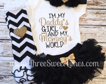 Baby Girl Clothes | I'm My Daddy's Girl And My Mommy's World | Father's Day Set |Opt Headband Leg Warmer | Baby Shower Daddy Gift Take Home