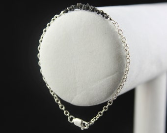 Rough Diamond Bracelet - Sterling Silver Ribbed Chain - Black Raw Diamonds - Bridesmaid Gift, Wedding