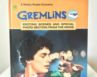 1980s Gremlins Hardcover Book, Movie Pop Culture Gift for Kids, Gizmo and Mogwai, Never Feed Them After Midnight