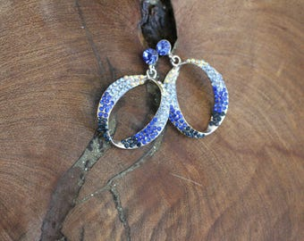 blue rhinestone hoop earrings, sapphire blue earrings, blue crystal earrings