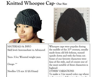 Knitting PATTERN- Jughead Hat, Whoopee Cap, Riverdale Hat six or SEVEN points