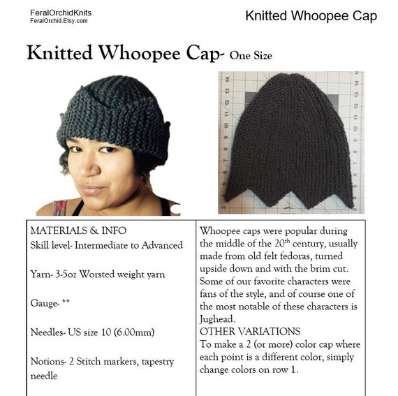 Knitting Pattern Jughead Hat Whoopee Cap Riverdale Hat Six