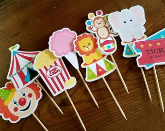 Big Top Circus Party - Set of 24 Assorted Double Sided Circus Cupcake Toppers by The Birthday House