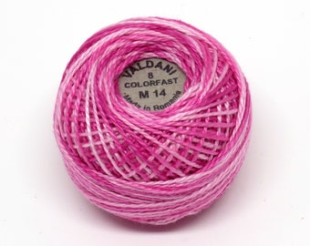 Valdani Pearl Cotton Thread Size 8 Variegated: #M14 Roses
