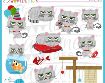 cat clipart, grumpy cat, kitty clipart, cat clip art, pet clipart, pet clip art, instant download