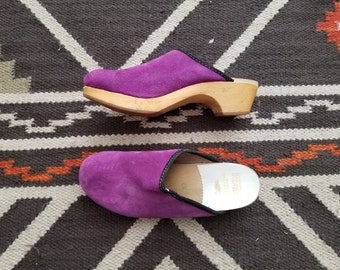 Vintage Clogs made in Denmark- wooden sole - Suede clog - purple clog - 70s Bohemian Style - vintage mule