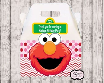 10 Pink and Red Elmo party favor box, Elmo gable box, 10 Elmo party favor gable box, Elmo favor box, Sesame Street party boxes