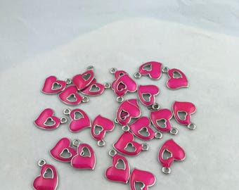 Pink Enemeled Heart Charms