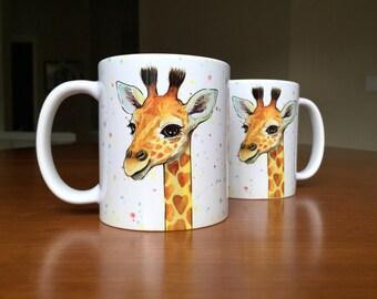 Giraffe Mug Animal Mug Giraffe Ceramic Mug, Animal Ceramic Mug, Baby Gift, Nursery Art, Baby Animals, Whimsical Animal Gift, Safari Nursery