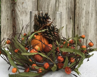 Fall Centerpiece with Pumpkin Spice Potpourri and Mini Pumpkin Candle Ring