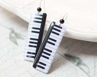 Piano earrings, inspirational women gift, Black white earrings, Piano jewelry, Piano keys earrings Key piano earrings Music gift for teacher