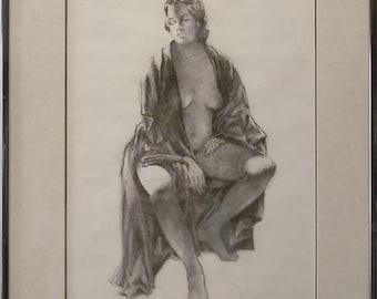 Amy Figure Study Charcoal Painting by Robert Oberding