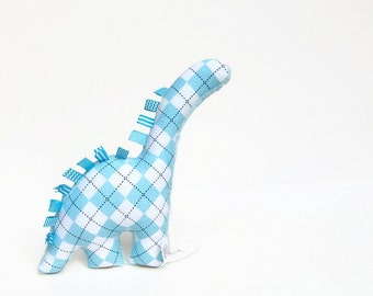 Plush Dinosaur Baby Toy Light Blue Argyle Stuffed Dino