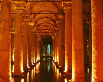 Basilica Cistern, Istanbul, Turkey Photography Print - wall art, orange photo, home decor, travel photography, travel poster, architecture
