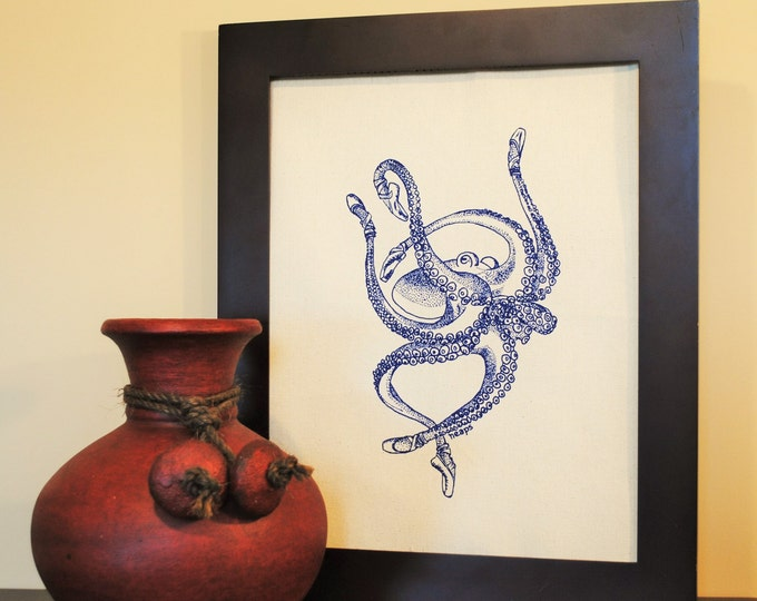Nautical Wall Decor - Screen Printed Natural Cotton Canvas - Blue Wall Decor Print of a Ballet Octopus -  Cute Dining Room Art