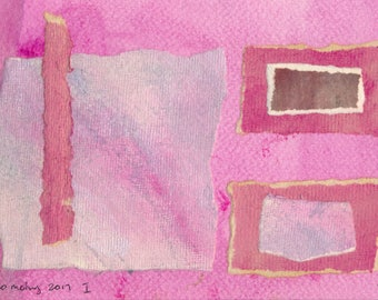 """Geometry 2017 I - abstract collage in pinks, reds and metallics made with prepared papers ready to frame matted to fit 10""""X8"""" frame"""