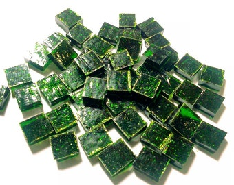 "100 1/4"" Tiny Tiles LT AVENTURINE GREEN #1 Stained Glass Mosaic i-10"