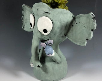 Elroy the Elephant with Marvin the Mouse // Pothead // Succulent Planter // Adorable Grey Elephant  // Ceramic // Small Sculpture