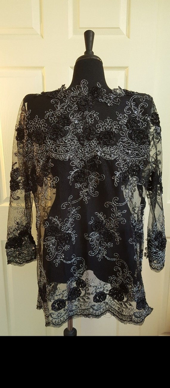 Top Silver Wedding Embroidered Midi Bridal Black Sequin Lace Custom Tulle Order Floral Jacket And qwOatP