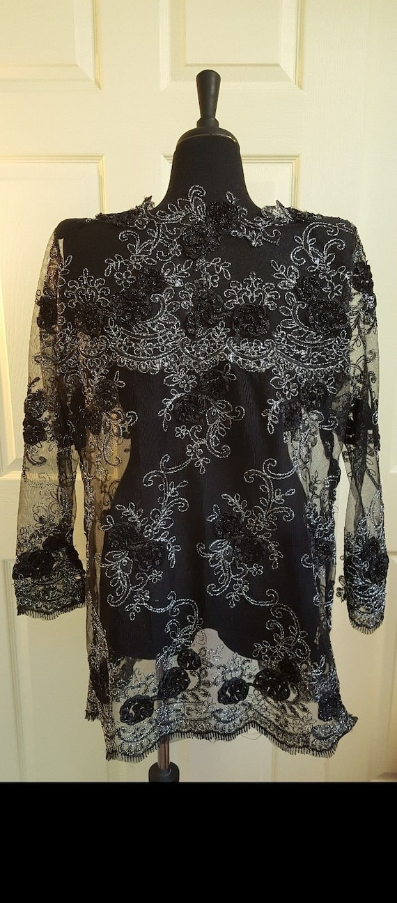 Black Sequin Top Silver Lace Order Jacket Midi Tulle Custom And Floral Bridal Wedding Embroidered awU0a51q