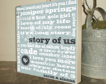 Story of Us, Wedding Vows, Gift for the Bride, Gift for the Groom, Anniversary Gift, Gifts for Her, Birthday Gift, Wedding Gift, 15 x 15