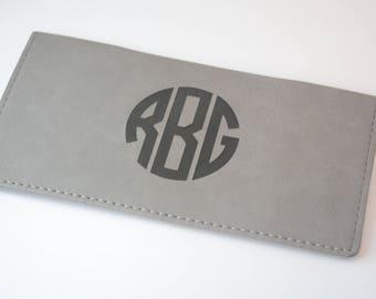 Monogrammed Checkbook Cover, Vegan Checkbook Wallet, Monogrammed Checkbook Wallet, Vegan Leather, Engraved Checkbook Cover, Check Book Cover
